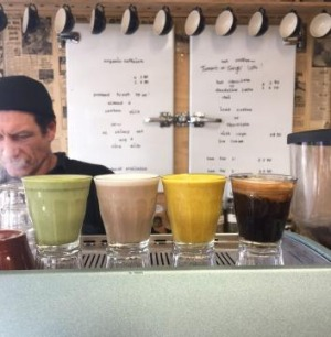 New flavours: Matcha and turmeric lattes at Melbourne Street Organics.
