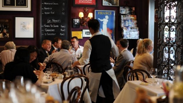 Close-set tables and vintage posters channel the charm of old Montmartre at Bistro Thierry, Toorak.