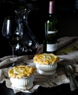 Beef, onion and red wine pie from Tash Shan.
