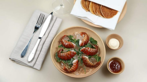 Yabby pikelets with lemon jam and clotted cream.