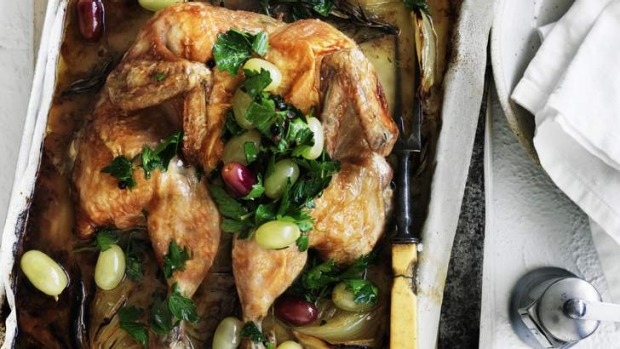 Flat-roasting saves time and makes the chicken more crisp.