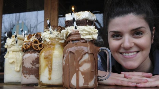 Patissez cafe co-owner Anna Petridis with the four 'freakshakes' she invented.