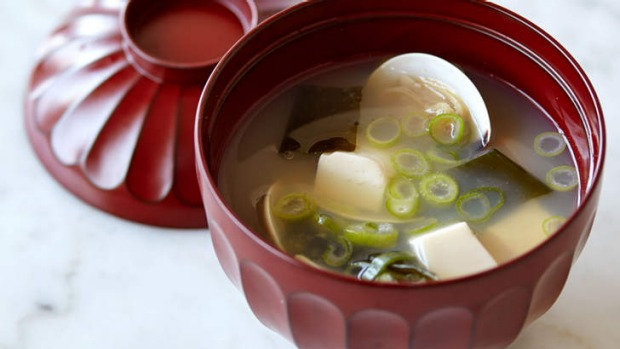 Hiromitsu Kato's umami-rich miso soup with clams.