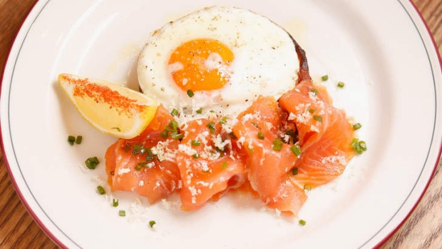 House-cured salmon, potato blini and fried egg.