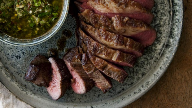 Beef on a budget: Barbecued tri-tip with coriander chimichurri.