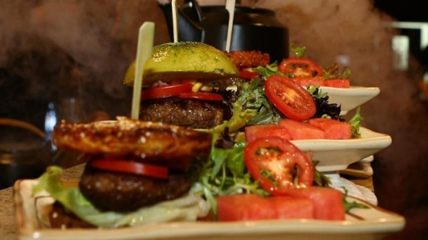 Fun flavours: Some of the creative 'burgers' at One Tea Bar.