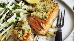 Salmon with a mustard crust on celeriac salad.