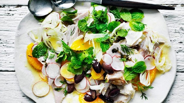 A fresh, vibrant side to any winter dish: Fennel, orange and olive salad with tuna.