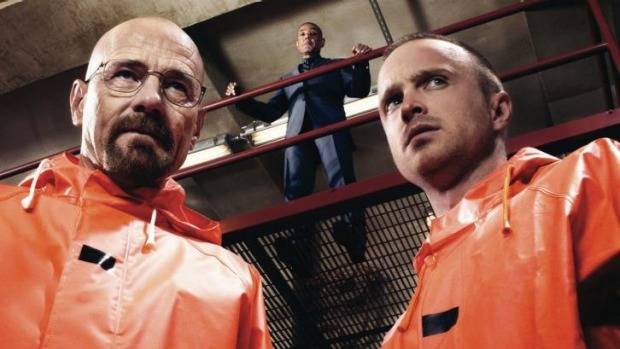 Walter White (Brian Cranston) and Jesse Pinkman (Aaron Paul) in a scene from <i>Breaking Bad</i>