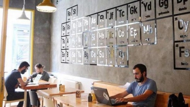 The cafe is meant to resemble a science laboratory. Kosan has plans to expand to Europe and the US.
