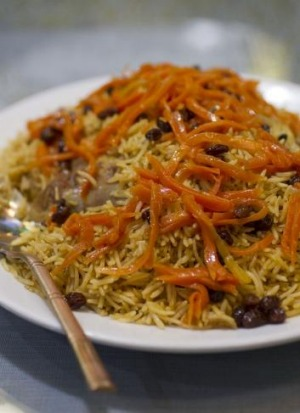 Pulaw saffron rice with slow-cooked lamb, sultanas and carrots at Kabul House.