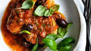 Provencal chicken with tomato and olive sauce.