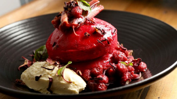 Red velvet hotcakes with stewed berries, rhubarb and cream cheese.