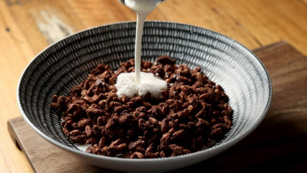 Corinthians' version of 'coco pops' with vanilla-bean milk.