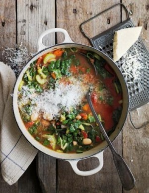 Kale and spinach minestrone from Two Good Soup.