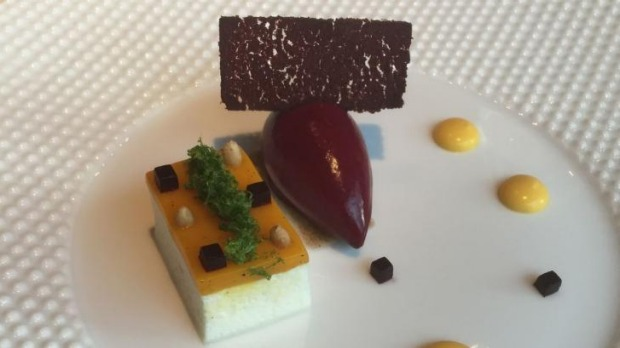 Mango and Douglas fir puree with bavarois of lychee and mango, and blackcurrant sorbet from Fat Duck's 2001 menu.