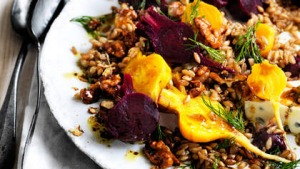 Neil Perry's farro, beetroot, gorgonzola and candied walnut salad.