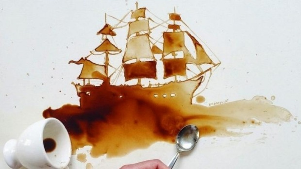 Unique creations: Giulia Bernardelli uses everyday ingredients such as coffee stains.