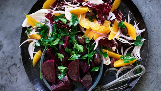 Vibrant winter flavours: Beetroot, orange and olive.