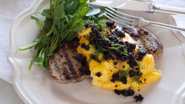 Black pudding is delicious crumbled over eggs.