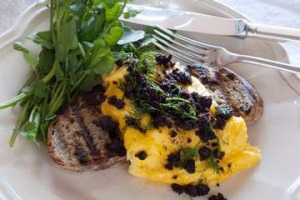 Scrambled eggs with black pudding and watercress.