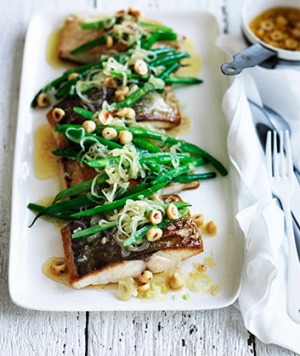 Kingfish with green beans, hazelnuts and brown butter.