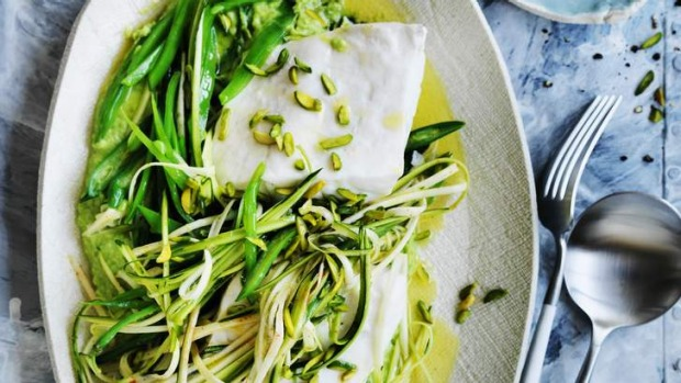 Revved up: Steamed fish with spring greens.