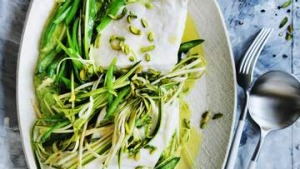 Steamed fish with spring greens
