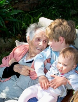 Margaret Fulton with great-grandchildren Harry and Charlotte.