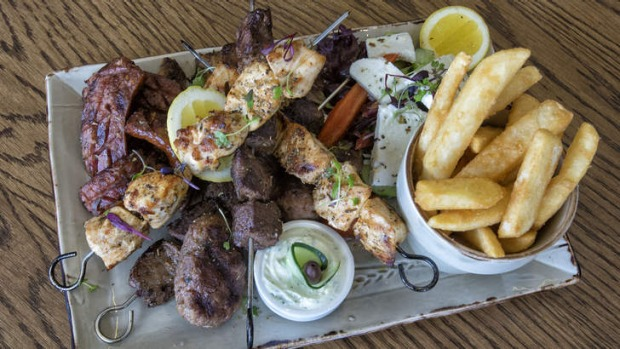 Beef skewers are a highlight of the meat platter.