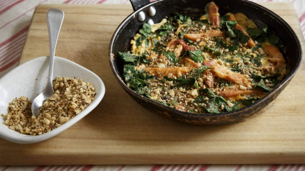 Flash in the pan: Smoked trout and spinach omelette with dukkah.
