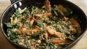 Smoked trout and spinach omelette with dukkah.