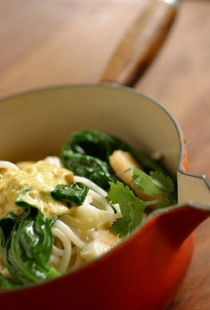 Tony Chiodo's one-pot  laksa with noodles and  Chinese greens.