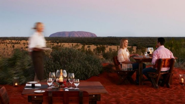 The intimate dining experience at Tali Wiru under the stars near Uluru.