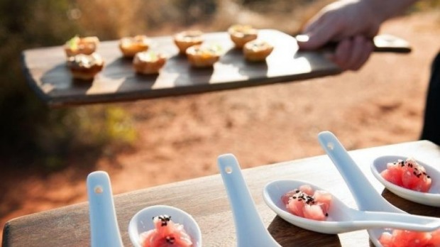 Canapes at Tali Wiru under the stars by Uluru.