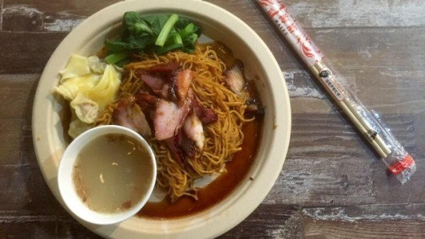 Wanton mee: egg noodles, pork and prawn dumplings, barbecue pork, lard, and choy sum from Alex Lee Kitchen.
