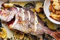 Whole snapper roasted with herbs and chat potatoes.