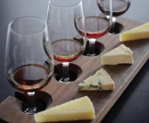 A wine and cheese flight from Milk the Cow.