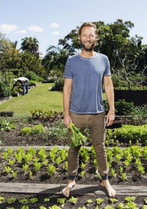 Justin Hemmes in his vegetable garden.
