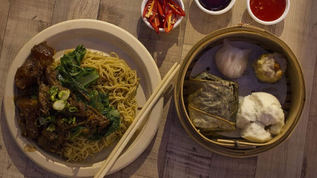 Beef brisket with noodles and dim sum basket from Hong Kong Diner.