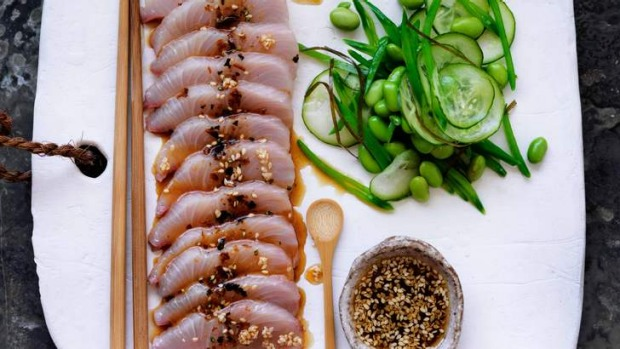 Kingfish sashimi with sesame ponzu dressing Recipe | Good Food
