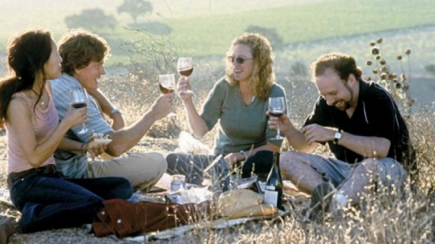 A scene from Sideways, a road trip comedy with pinot.