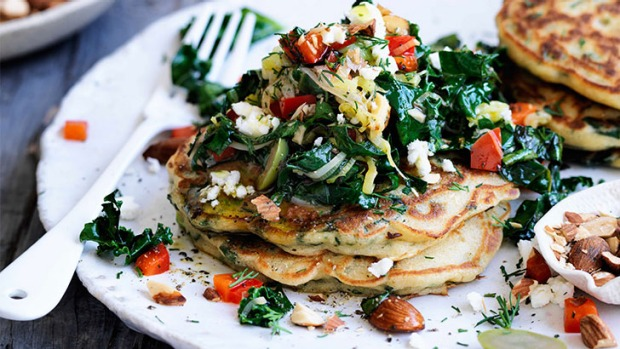 Breakfast, lunch or dinner: Spinach hotcakes.