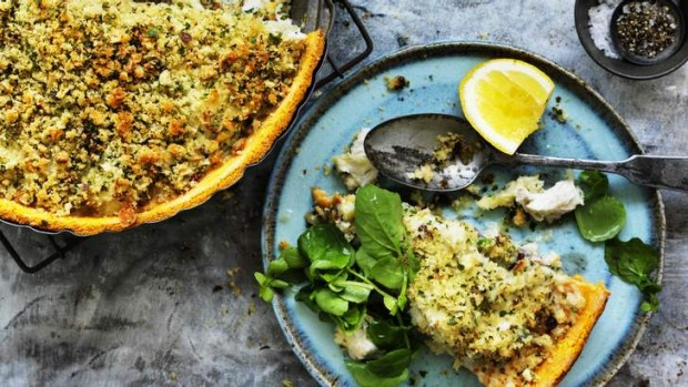 Pastry-free pie: Fennel and fish make a classic combination.