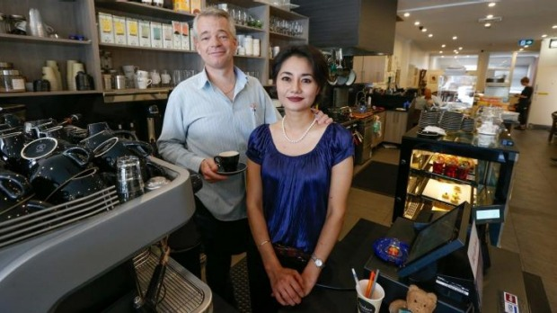 John and Claudette Osterberg at their cafe, Black Mocha, at Turramurra.