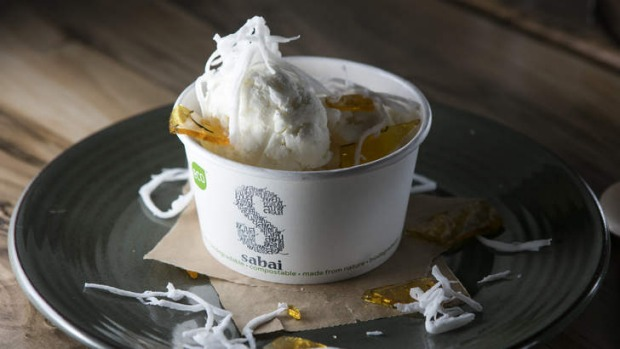 Coconut ice-cream with kaffir-lime toffee.