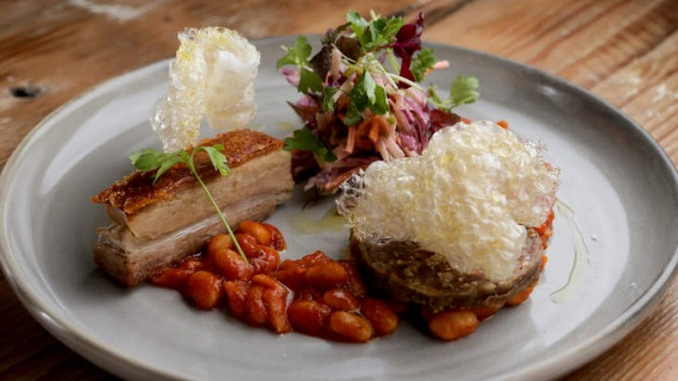 Two Pigs pork belly and white bean cassoulet.