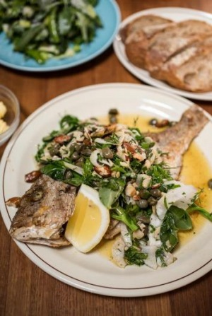 Whole Bay-caught snapper at Cakes and Ale.