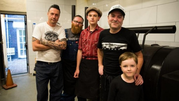 Keeping it in the family at new barbecue joint Bovine & Swine: Tim Chillingworth, Wes Griffiths, Wes's son David,16, ...