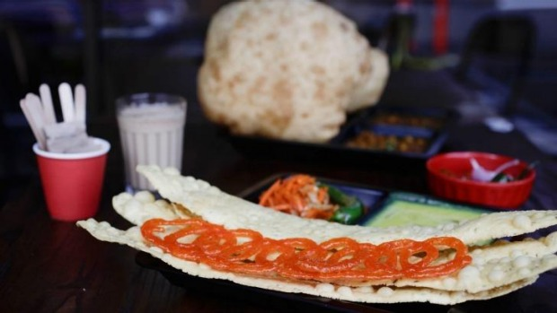 Fafda and jalebi is a typical place to start on the breakfast menu.
